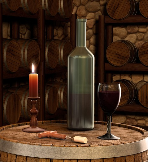 A candle lit shot of a wine bottle and glass of wine inside of a wine cellar : Stock Photo