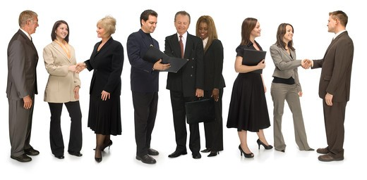 Group of corporate business people networking on a white background : Stock Photo