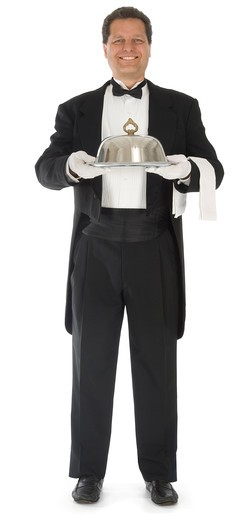 Waiter standing full front view on white background : Stock Photo