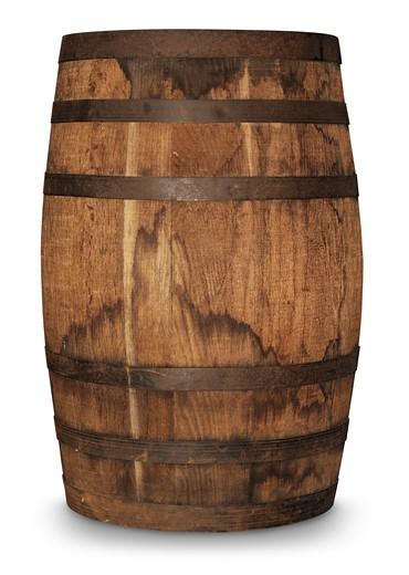 aged oak barrel on white background : Stock Photo