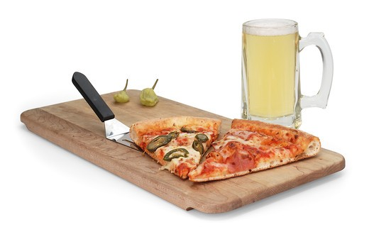 Stock Photo: 4193R-234 Beer & Pizza on white
