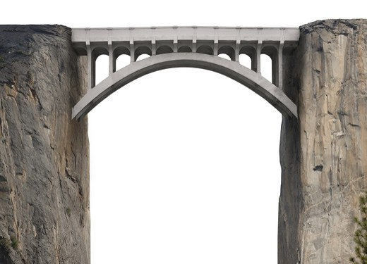 Bridge spanning two vertical cliffs on a white background : Stock Photo