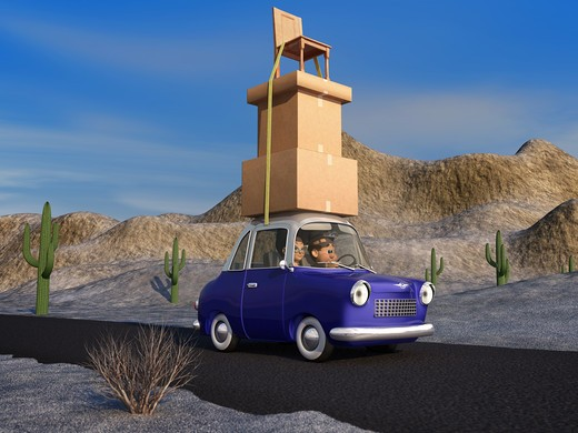 Stock Photo: 4193R-347 A cartoon family driving through the desert in a cartoon car carrying a load of tall stack of boxes and a chair that is strapped to the car.