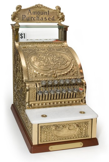 Vintage brass cash register isolated on white with clipping path : Stock Photo