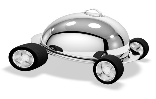 High-Resolution Render of a Silver Speeding Catering Dish. : Stock Photo