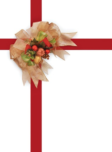 decorative Christmas bow with red ribbon on white background with clipping path : Stock Photo