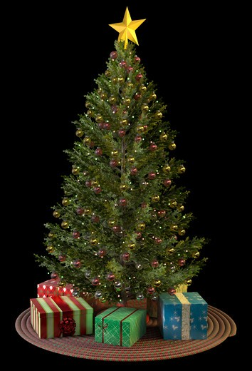 Stock Photo: 4193R-408 A Christmas Tree with presents isolated on white.