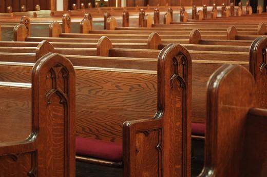 empty church pews : Stock Photo