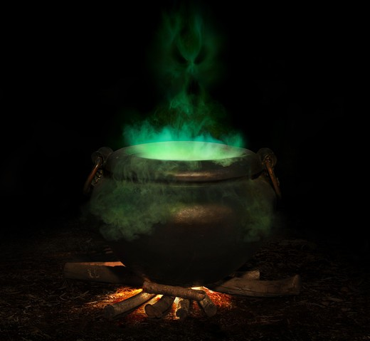 Stock Photo: 4193R-455 bubbling iron cauldron with green smoke and evil spirit rising