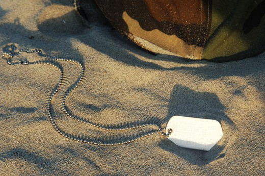 dog tag and helmet in sand : Stock Photo