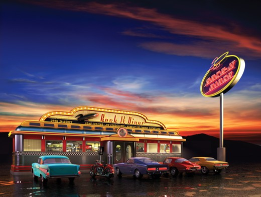 Retro American diner at dusk : Stock Photo