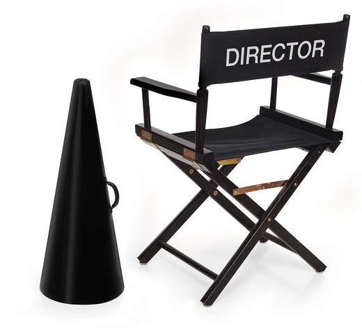director's chair and megaphone on white background : Stock Photo