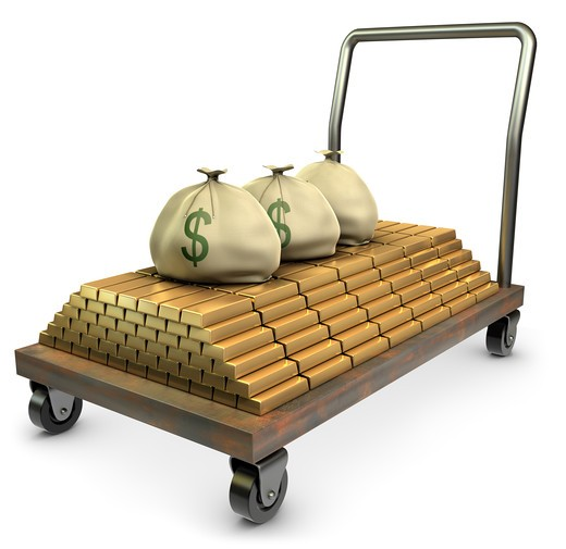 Stock Photo: 4193R-592 Gold and sacks of cash on a dolly over a white background