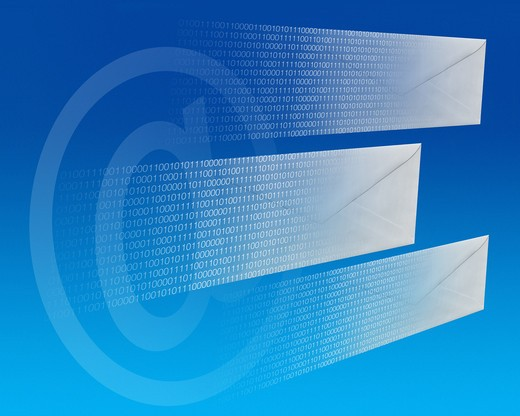 Stock Photo: 4193R-606 e-mail letters flying through cyberspace