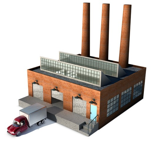 A small factory with a Cargo truck at a loading dock isolated on white : Stock Photo