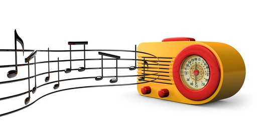 Stock Photo: 4193R-672 A Retro 1950s radio with music notes coming out of the speaker on a white background