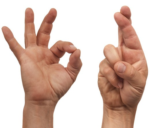 two male hands making the  OK  and fingers crossed sign : Stock Photo