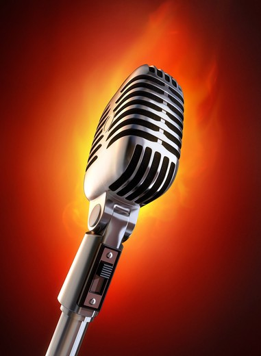 50's microphone on fire. : Stock Photo