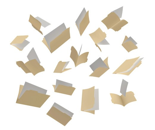 A shot of file folders scattered in the air on a White background : Stock Photo