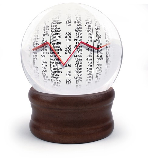Crystal ball with stock market on white : Stock Photo