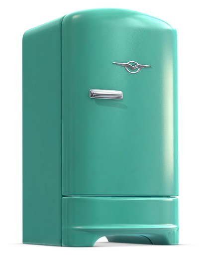 A retro turquoise colored refrigerator door closed on white. : Stock Photo