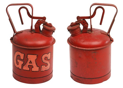 red one gallon metal gas can shot from front and back and isolated on white with clipping path : Stock Photo