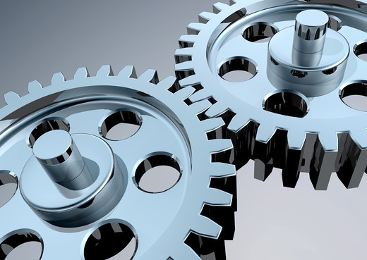 Stock Photo: 4193R-767 High-Resolution 3d concept art showing the meeting point of two chrome gears