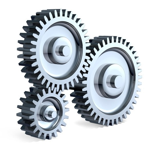High-Resolution 3d Art showing the meeting point of 3 Different sized chrome gears. : Stock Photo