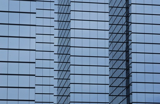Stock Photo: 4193R-779 modern office building with glass exterior, wide orientation