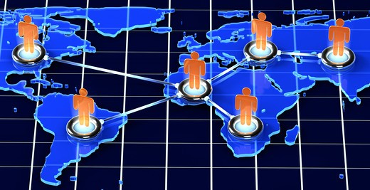 A Map showing people connected in different nations. : Stock Photo