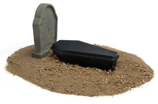 Stock Photo: 4193R-813 Casket, grave and headstone on white background