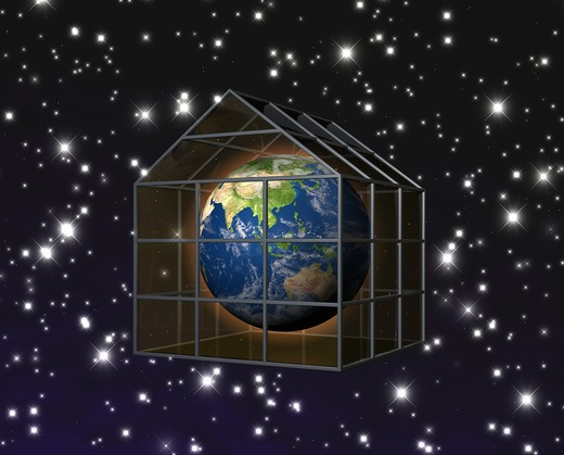 planet earth in greenhouse : Stock Photo