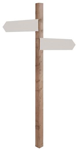 Stock Photo: 4193R-828 wooden sign post with blank direction signs pointing in opposite directions