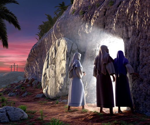 Stock Photo: 4193R-856 Mary Magdalene, Mary, & Salom walking up to the bright empty tomb of Jesus Christ early Sunday morning, Showing Golgotha in the background.
