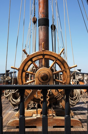 ship's helm / captain's wheel on a tall sailing ship : Stock Photo