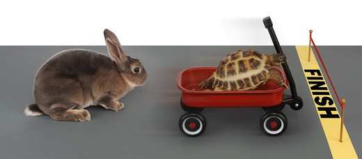 Stock Photo: 4193R-921 turtle winning the race against a rabbit in a red wagon