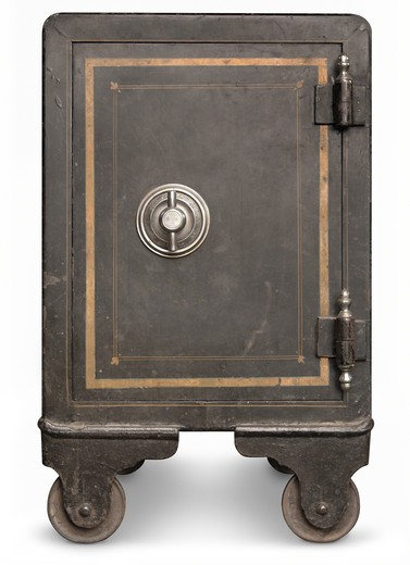 Stock Photo: 4193R-927 Antique iron safe isolated on white background with clipping path