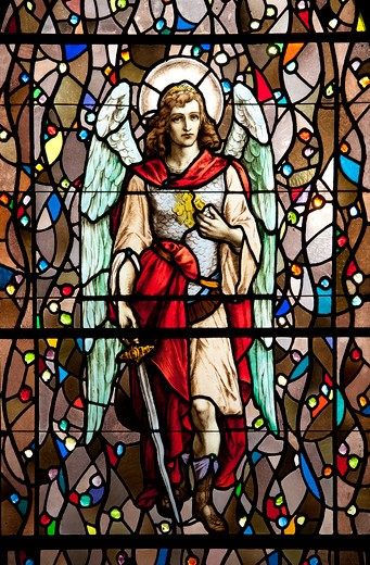 USA, California, Los Angeles, stained glass window, angel : Stock Photo