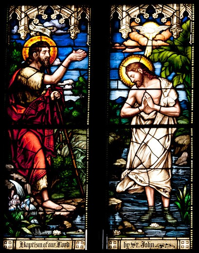 Stock Photo: 4194-139 Stained glass depicting John the Baptist and Jesus