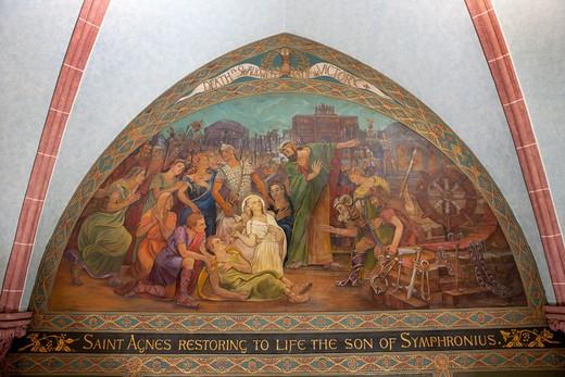USA, New York State, New York City, St. Paul's Church, fresco : Stock Photo