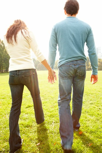 Back view portrait of a young couple walking together : Stock Photo