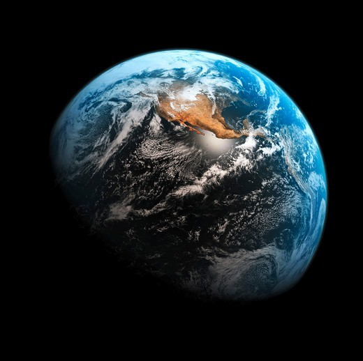 Stock Photo: 4197R-49100 The earth in space