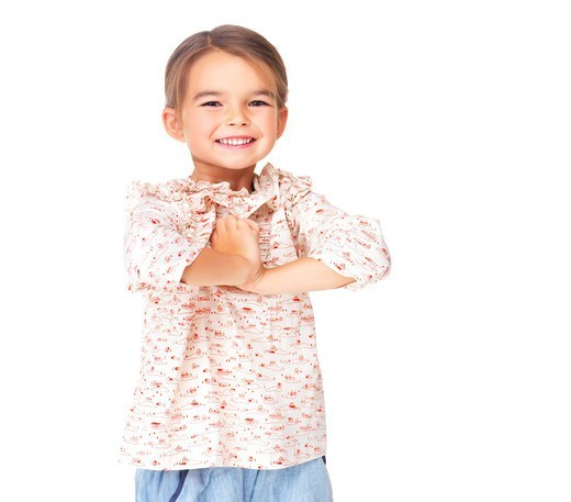 Stock Photo: 4197R-52122 Portrait of beautiful young girl with sweet smile isolated on white background