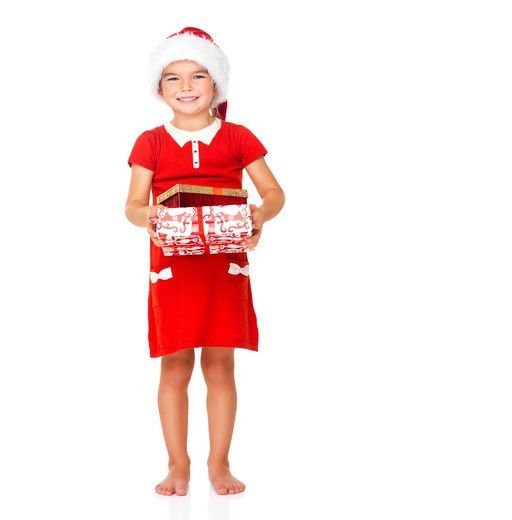 Stock Photo: 4197R-52163 Portrait of a little girl with Santa hat and gift on white background