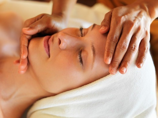 Stock Photo: 4197R-52190 Closeup of gorgeous middle aged woman receiving massage at spa