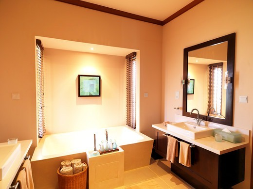 Stock Photo: 4197R-53461 Luxury bathroom with hand wash basin of a five star hotel room