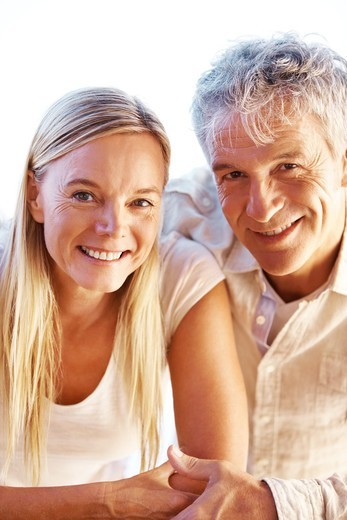 Closeup portrait of beautiful mature couple together : Stock Photo