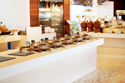 Stock Photo: 4197R-53648 Catering industry - Serving dish at a hotel for buffet dinner