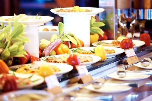 Image of catering buffet food with fresh fruits : Stock Photo