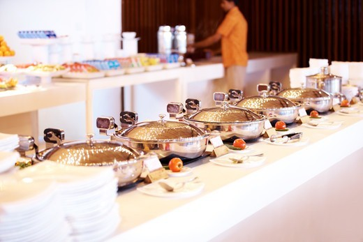 Stock Photo: 4197R-53656 Banquet meal trays served on table at luxury restaurant